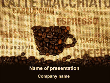 Coffee Beans On A Canvas PowerPoint Template