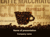 Food & Beverage: Coffee Beans On A Canvas PowerPoint Template #09388