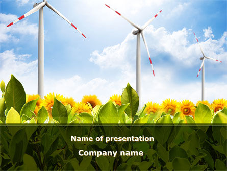 Windmills Field PowerPoint Template, 09393, Nature & Environment — PoweredTemplate.com