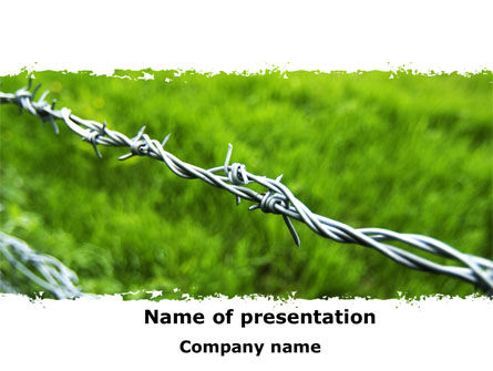 Nature & Environment: Barbed Wire Fence PowerPoint Template #09411