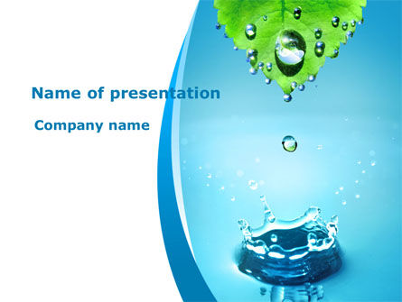 Spring Water Drops Powerpoint Template, Backgrounds | 09426
