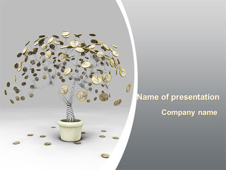 Business: Coins On Money Tree PowerPoint Template #09439