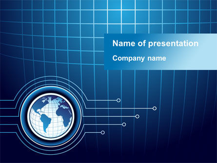 Blue Globe of Earth PowerPoint Template, 09444, Global — PoweredTemplate.com