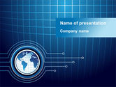 Global: Blue Globe of Earth PowerPoint Template #09444