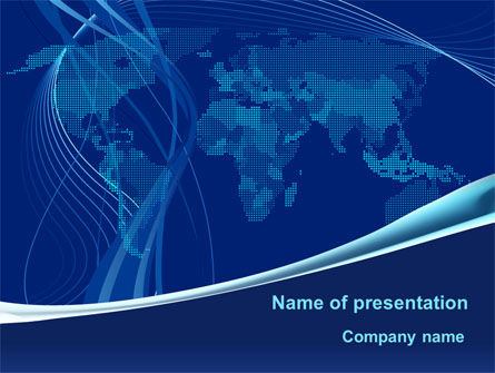 Map Of Earth In Blue PowerPoint Template