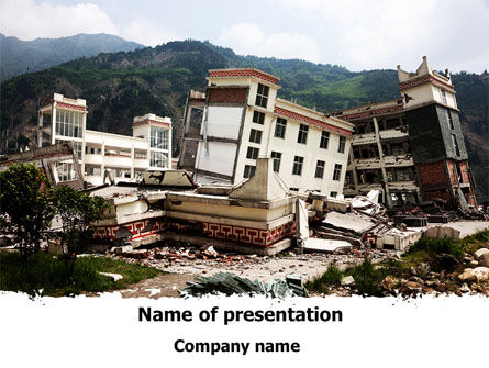 Destroyed Buildings PowerPoint Template, 09473, Construction — PoweredTemplate.com