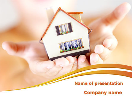 House In Hands PowerPoint Template, 09491, Real Estate — PoweredTemplate.com