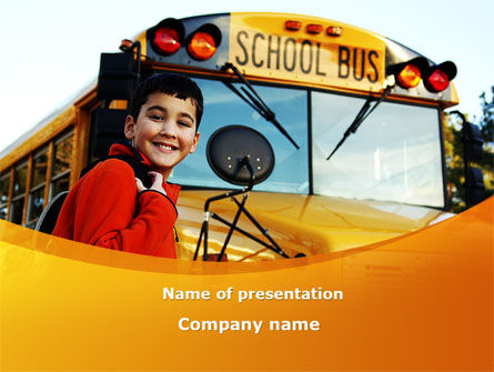 School Bus With Happy Pupil PowerPoint Template