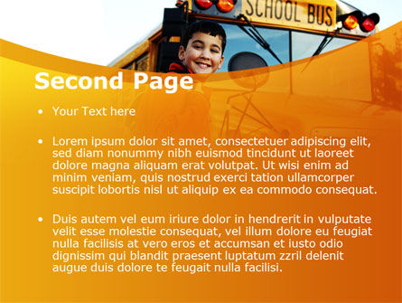 School Bus With Happy Pupil PowerPoint Template Slide 2