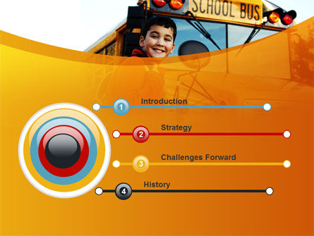 School Bus With Happy Pupil PowerPoint Template Slide 3