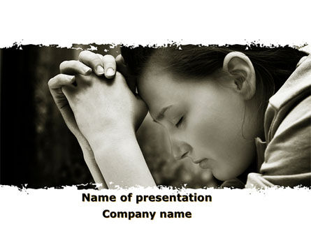 Religious/Spiritual: Praying Girl PowerPoint Template #09520