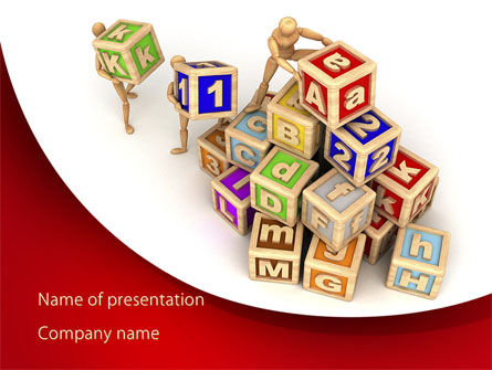 Educational Cubes For Childrens PowerPoint Template