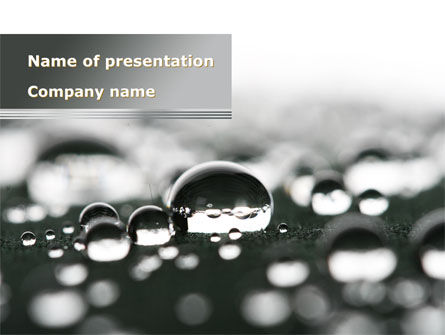 Nature & Environment: Water Drops in Black And White PowerPoint Template #09547