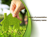 Real Estate: Green House Building PowerPoint Template #09565