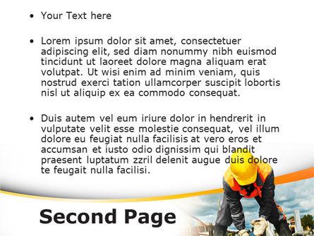 Builder On Construction Site Portrait PowerPoint Template, Slide 2, 09566, Construction — PoweredTemplate.com