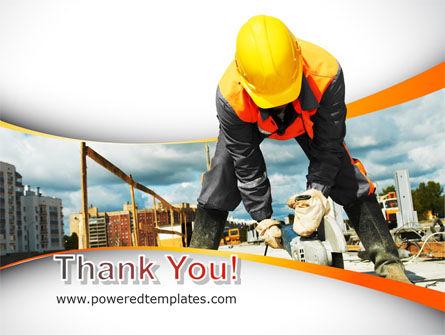 Builder On Construction Site Portrait PowerPoint Template Slide 20