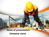 Construction: Builder On Construction Site Portrait PowerPoint Template #09566