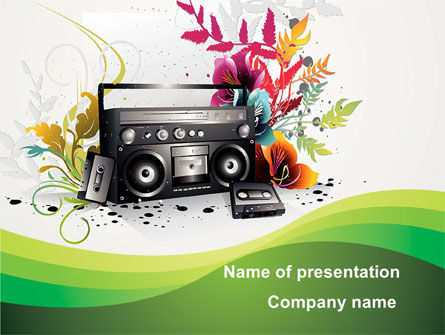 Art & Entertainment: Vintage Boombox PowerPoint Template #09586