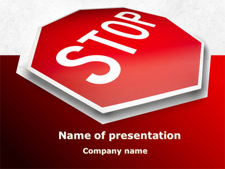 Stop Road Sign PowerPoint Template