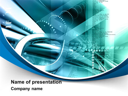 Technology and Science: Aqua Constructions PowerPoint Template #09616