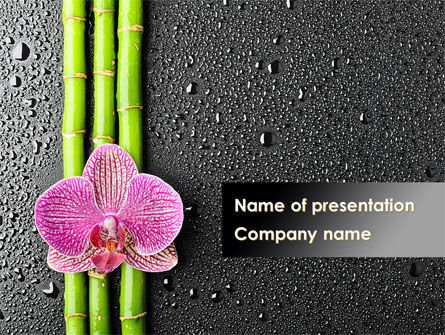 Health and Recreation: Orchid On Bamboo PowerPoint Template #09637