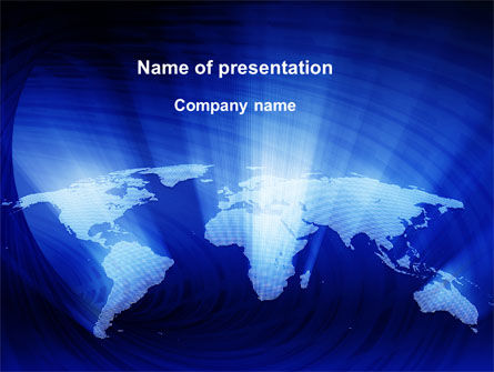 Global: World Map In Blue PowerPoint Template #09638