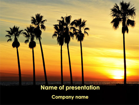 Sunset On The Tropic Island PowerPoint Template, 09639, Health and Recreation — PoweredTemplate.com