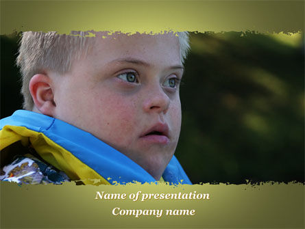 People: Mentally Challenged Boy PowerPoint Template #09648