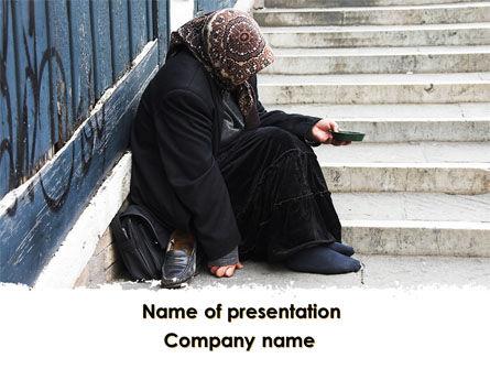 Religious/Spiritual: Beggar PowerPoint Template #09652