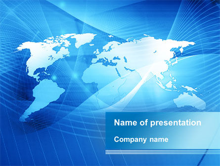 Global: Blue Earth Map PowerPoint Template #09672