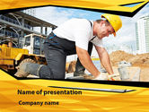 Construction: House Builder On Construction Site PowerPoint Template #09684