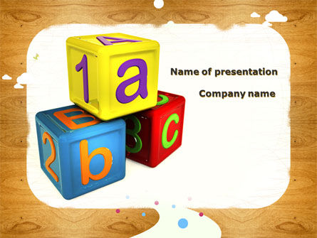 Cubes For Basic Education PowerPoint Template