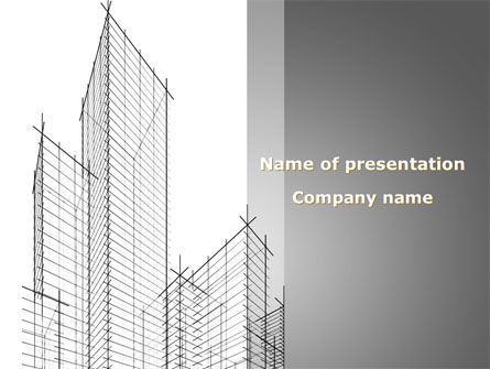 Sketch Of Skyscraper PowerPoint Template, 09705, Construction — PoweredTemplate.com