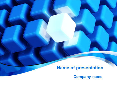 Blue Cubes Conglomerate PowerPoint Template, 09708, Abstract/Textures — PoweredTemplate.com