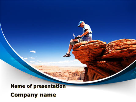 Laptop On The Top Of The World PowerPoint Template, 09722, Telecommunication — PoweredTemplate.com