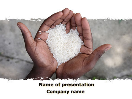 Food & Beverage: Rice Heart In Palms PowerPoint Template #09724