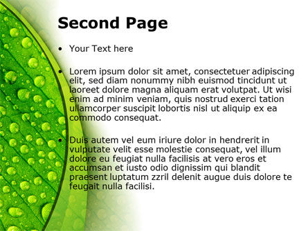 Green leaflet In Drops Of Dew PowerPoint Template, Slide 2, 09733, Nature & Environment — PoweredTemplate.com