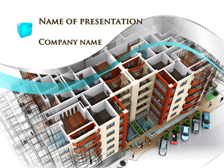 Construction: Model Of Apartment House PowerPoint Template #09736