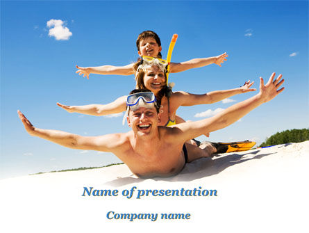 Health and Recreation: Happy Family On The Beach PowerPoint Template #09738