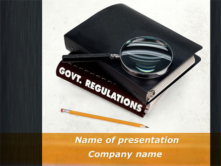 Legal: Govt. Regulations PowerPoint Template #09743