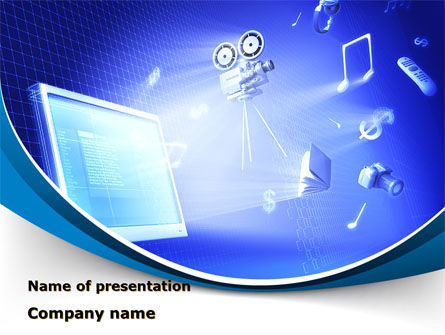 multimedia computer powerpoint template, backgrounds | 09744, Presentation templates