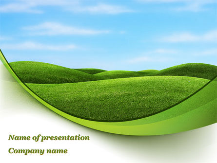 Green Fields PowerPoint Template, 09745, Nature & Environment — PoweredTemplate.com