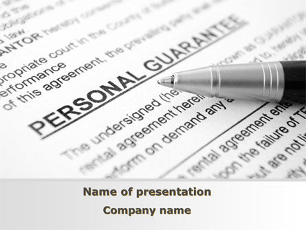 Legal: Personal Guarantee PowerPoint Template #09749