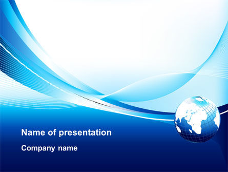 Abstract Blue With Globe PowerPoint Template, 09765, Global — PoweredTemplate.com