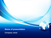Abstract Blue With Globe PowerPoint Template#1