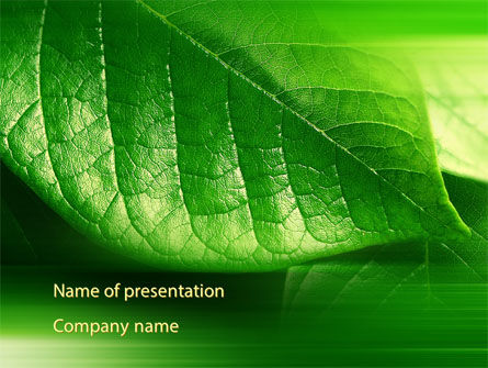 Nature & Environment: Modèle PowerPoint de feuille vert brillant #09768