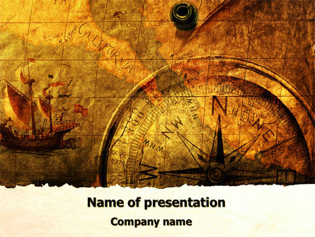 ancient map with compass powerpoint template, backgrounds, Powerpoint