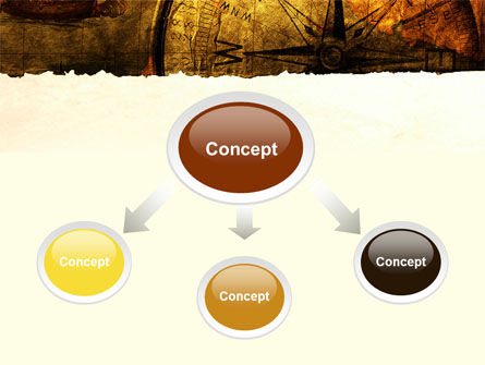 Ancient Map With Compass PowerPoint Template, Slide 4, 09769, America — PoweredTemplate.com