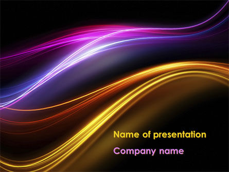 Abstract Neon Waves Compass PowerPoint Template