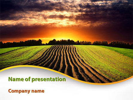Agriculture: Arable Land At Sunset PowerPoint Template #09774
